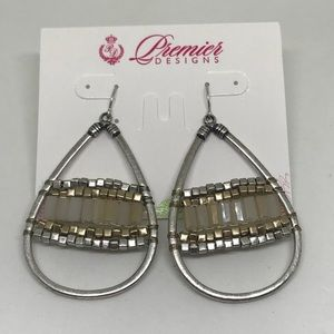 Premier Designs CLEO Earrings Silver Gold Beads